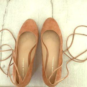 Loeffler Randall rose suede heels with Ankle ties